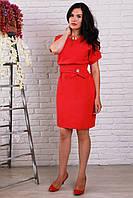 Красивое платье с поясом коралловое