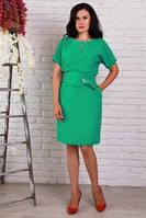 Красивое платье с поясом зеленое