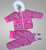 """Комбинезон детский, мех """"под овчину"""", зимний, утепленный, с капюшоном, комплект куртка и полукомбинезон"""