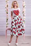 Легкая контрастная юбка 42-48 размеры 1338