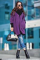 Женское пальто с вязаным воротником и манжетами