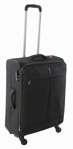 Черный средний 4-колесный тканевый чемодан 74/87 л. Roncato IRONIC 5122/01