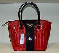 """Женская сумка  """"Valetta - Prada"""" красный крокодил"""