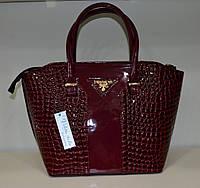 "Женская сумка  ""Valetta - Prada"" бордовая рептилия"