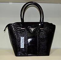 """Женская сумка  """"Valetta - Prada"""" черная рептилия"""