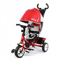 Велосипед с ручкой для родителей Best Trike 6588: красный, колеса из пены, защитный бампер, 95*55*80 см