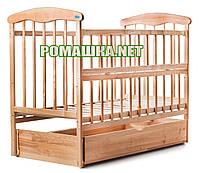 """Детская кроватка """"Наталка"""" 120х60 см, маятник, ящик, откидной бортик, светлая, натуральное дерево - ясень"""