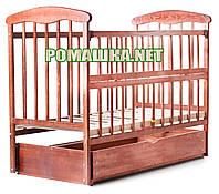 """Детская кроватка """"Наталка"""" 120х60 см, маятник, ящик, откидной бортик, темная, натуральное дерево - ясень"""