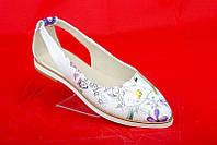 Оригинальные балетки Flowers с острым носком, кожа