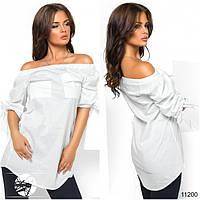 Блузка с резинкой на плечах и завязкой-бантом на рукавах