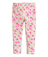 Штаны треггинсы бежевые в розовые сердечки для девочки H&M (США)