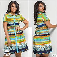Легкое платье приталенного силуэта с клешенной юбкой в сборку на талии, пояс в комплекте.