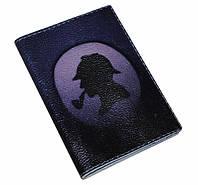 Кожаная мужская обложка для паспорта -Силует Холмса-