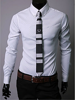 Рубашка мужская белая классика с длинными рукавами