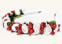Обруч для волос с цветами Розы и калина