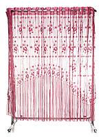Тюль для кухни готовая, темно розовая виноградный листик