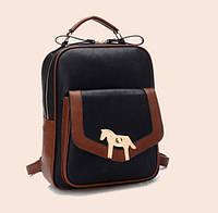 Рюкзак  черный с коричневой отделкой