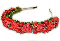 Ободок для волос модный Розы и калина