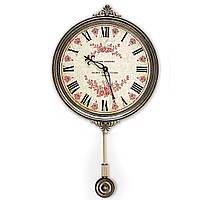 """Часы настенные с маятником """"Цветы"""" 30,5х5,5х54,5 см. ED12"""