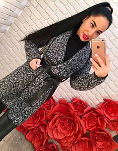 Твидовое пальто с поясом