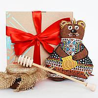 Подарочный сет №155. Мишка, мёд, деревянная ложка