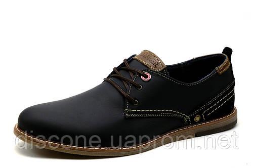 Туфли мужские H.Denim, кожаные, спортивные , черные