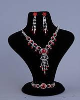 Свадебный комплект бижутерии (49а) с красным камнем
