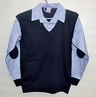 Рубашка-обманка для школы мальчику 6-12 лет ATABAY голубая клетка