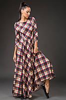 Женское длинное платье в клетку разных оттенков