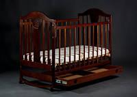 Кроватка детская Наполеон NEW с ящиком темный орех, Ласка-М