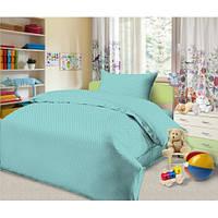 Постельное белье для детей, Горошек бирюза бязь 100% хлоп (подростковое полуторное постельное белье)