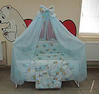 Детское постельное белье голубое Мишки клетка  Gold 9 в 1