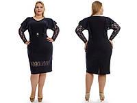 Красивое черное платье с гипюровыми вставками