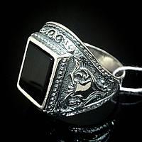 Серебряный мужской перстень с ониксом, 7,1 грамма