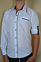Рубашка на мальчика белая с синим школа