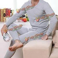 Мужская хлопок кальсоны круглый воротник термобелье брючный костюм