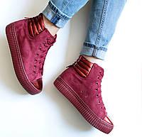 Кроссовки ботинки женские Rihanna высокие бордо, полуботинки женские люкс