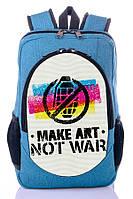 """Взрослый рюкзак """"NOT WAR """" (бирюза), фото 1"""