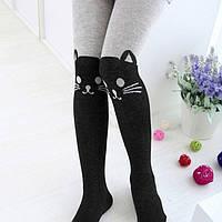 Трикотажные колготки для девочек коты серые