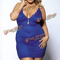 Ohyeah женщин сексуальный глубокий v кружева вышитые отвесно ремень ночнушку пижама
