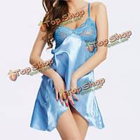 Женщин сексуальный атласа ремень спагетти пижамы глубокий v ночной рубашке полые кружева