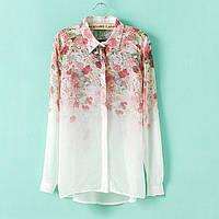 Рубашка (блузка) женская белая в цветочек