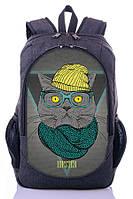 """Детский рюкзак """" СТИЛЬНЫЙ КОТ"""" (серый), фото 1"""