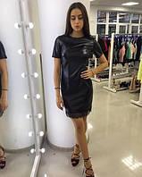 Платье из кожзама черного цвета