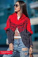 Кофта Лало с капюшоном красный+серый