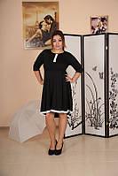 Офисное черно-белое платье француз батал