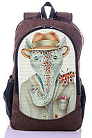 """Детский рюкзак """" Стильный Слоник"""" (коричневый)"""