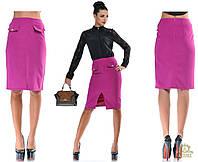 Стильная прямая юбка по колено. Цвет: синий, черный, фуксия, бежевый OD55199