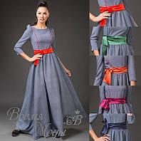 Элегантное серое платье в пол, с голубым отливом и атласным поясом. 5 цветов