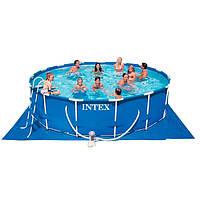 Бассейн каркасный с тентом и подстилкой INTEX 454*84 см.